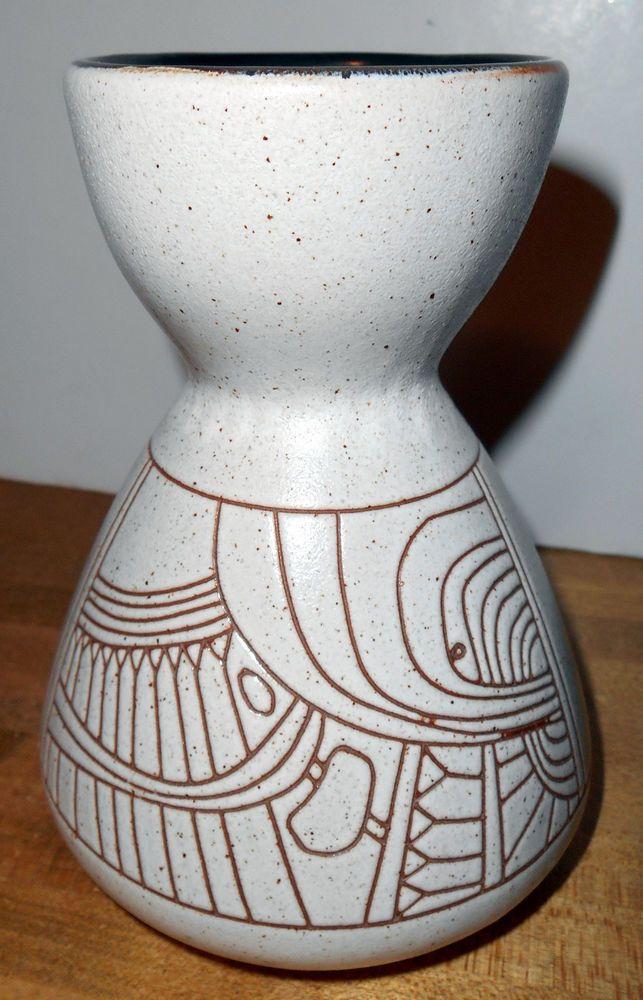 Mid Century Modern LAPID ISRAEL Beige Pottery VASE # 143 Brown Abstract Designs  #Lapid