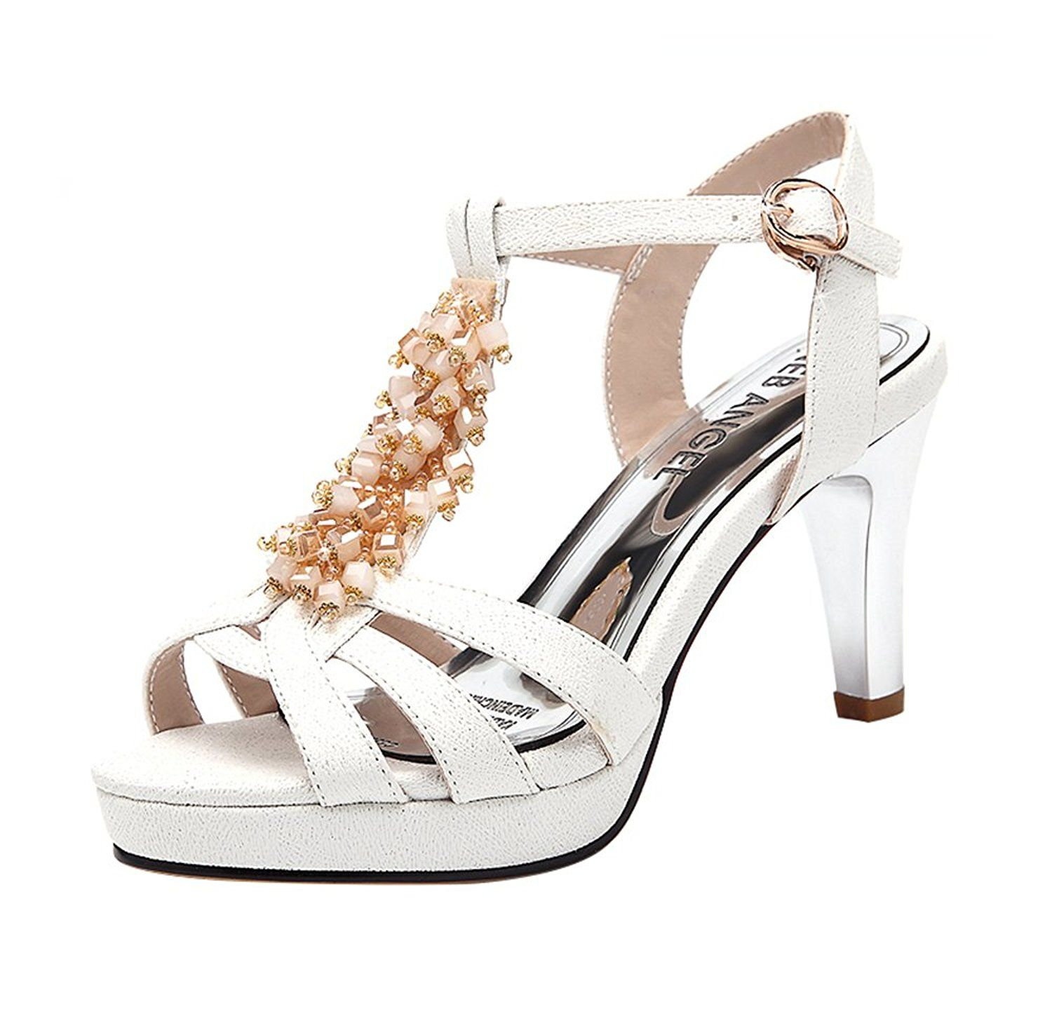 670b7ad58e97 T and Grade Women Fashion Peep Toe Rhinestone T-Strap Ankle Strap Sling  Back Chunky Heel Platform Sandals -- New and awesome outdoor gear awaits  you