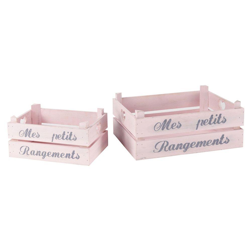 2 Caisses De Rangement Rose L 30 Et L 40 Cm Maisons Du Monde Cagette Rangement Rose Cagette Bois