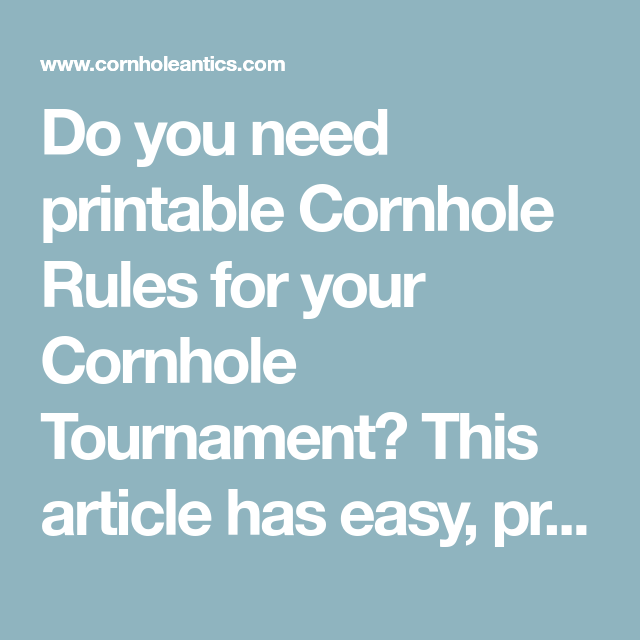 photograph about Printable Cornhole Rules named Do by yourself need to have printable Cornhole Regulations for your Cornhole