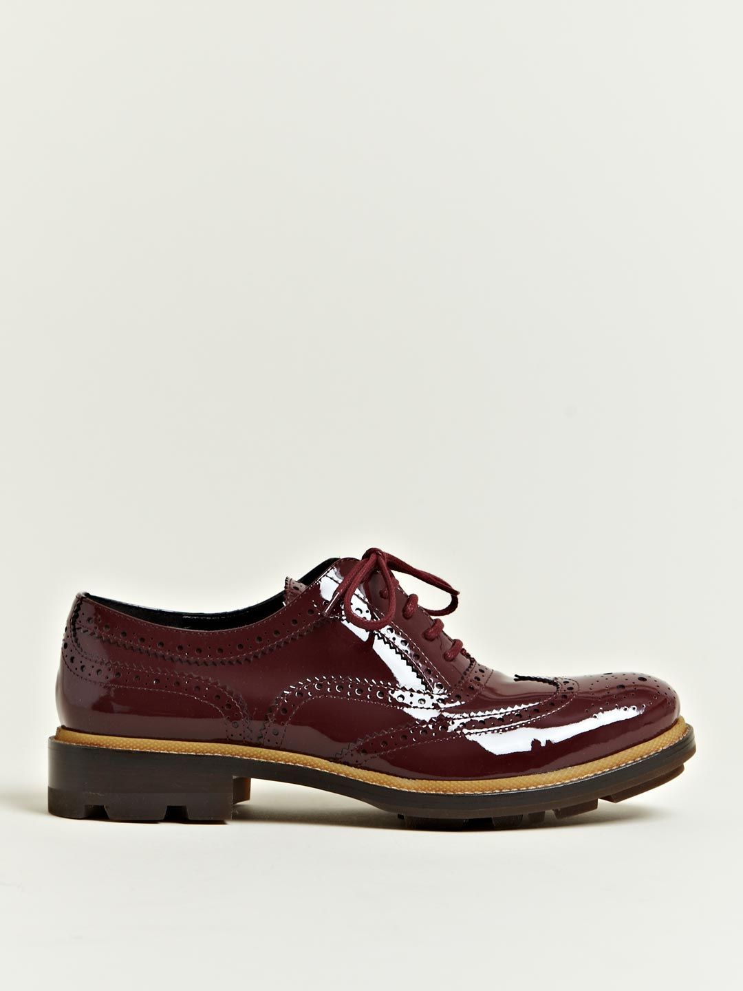 Jil Sander Women's Patent Brogue Oxford Shoes | LN-CC