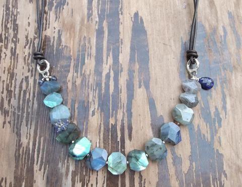 Aurora Lights Necklace--Labradorite, Lapiz, Pink Sapphire, Iolite, Pink Tourmaline and Leather Artisan Gemstone Necklace