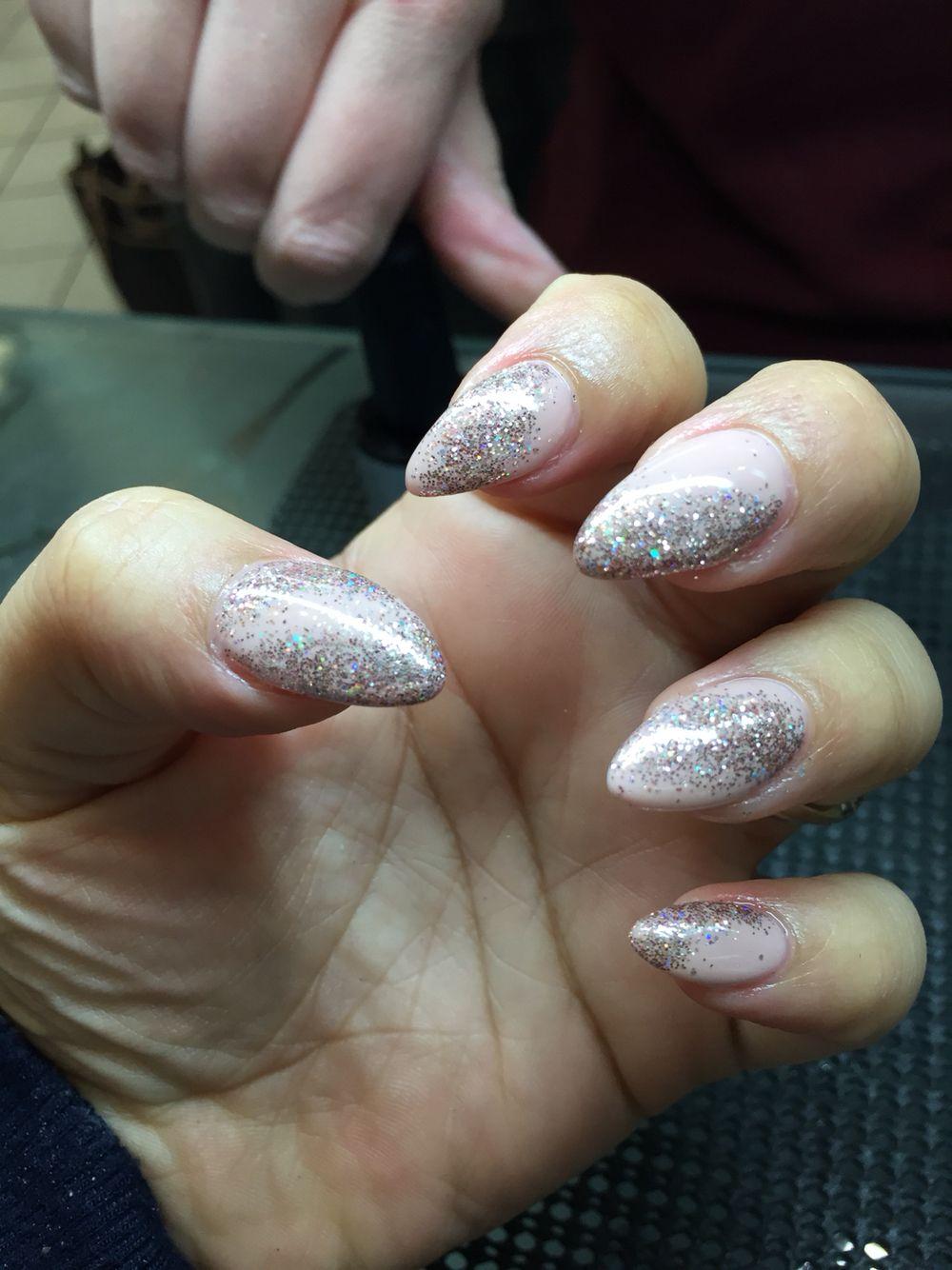 Almond shaped nude glitter dust gel nails   Nails   Pinterest ...