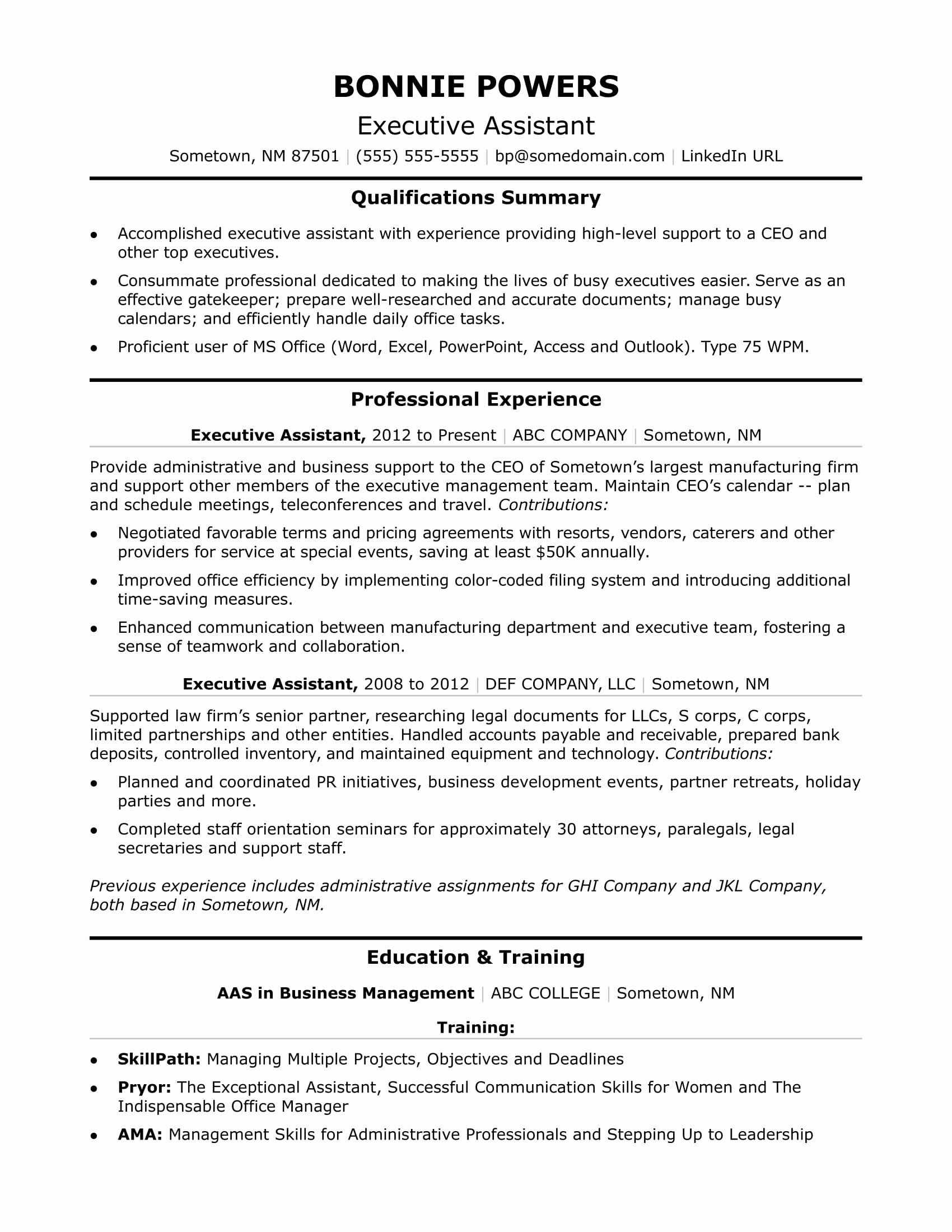 personal assistant resume summary samples