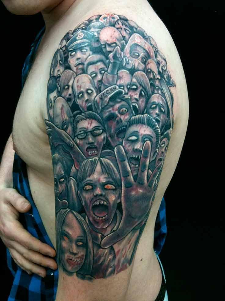 Amazing Twd Tattoo Sleeve Walking Dead Tattoo Zombie Tattoos Incredible Tattoos