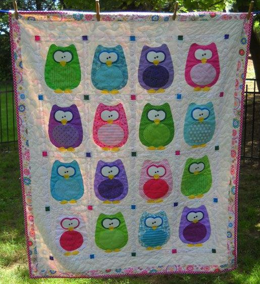 The Hoots Owl Baby Quilt Pattern by Amy Bradley Designs at KayeWood.com. Whooo wants to make a super fun and easy quilt? We added photos of baby's family to the owl tummies on the wall hanging.  This pattern include instructions for two versions, a quilt and a wall hanging.  The full alphabet is included. The technique used is fusible appliqué, recommended for intermediate quilters. https://www.kayewood.com/shop/c/p/The-Hoots-Owl-Baby-Quilt-Pattern-by-Amy-Bradley-Designs-x32209436.htm $10.00
