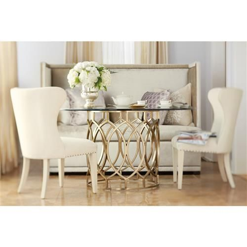 Oriana Modern Classic Gold Pedestal Glass Dining Table Glam Home