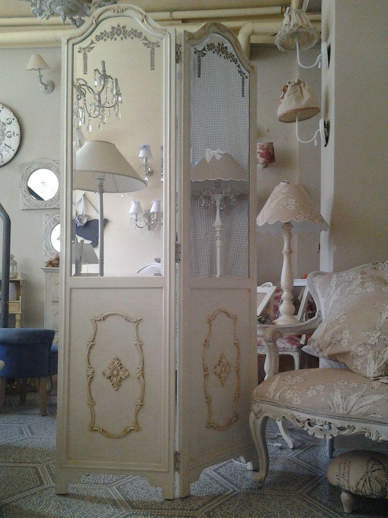 Specchio paravento bianco shabby chic paraventos biombos pinterest - Specchio shabby chic ...