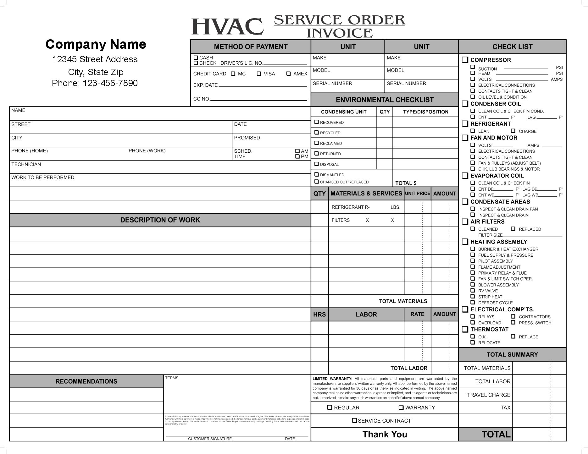 Hvac Invoice Template Free Top Invoice Templates Hvac Invoice - Free printable hvac invoice template for service business