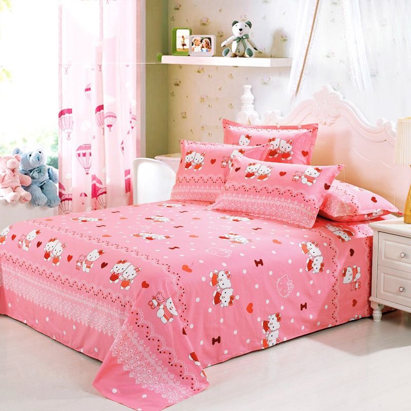 Hot Sale 100% Cotton Fitted Bed Sheet Pink Mattress Cover Girlu0027s Bedspread King  Size 270
