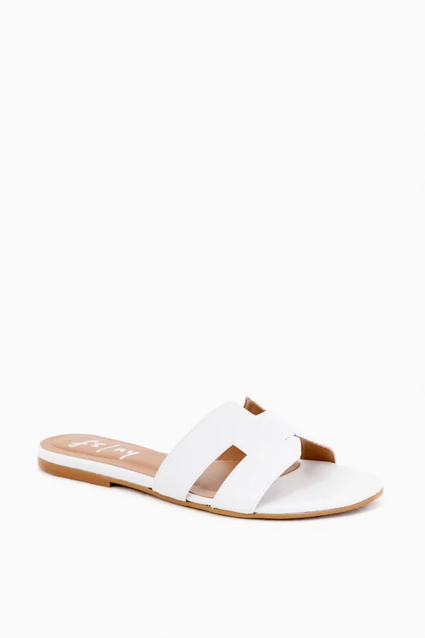White Leather Alibi Sandals   French
