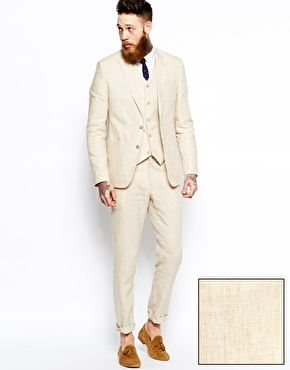 ASOS Slim Fit Suit in Beige Linen | Burg | Pinterest | ASOS, Click ...