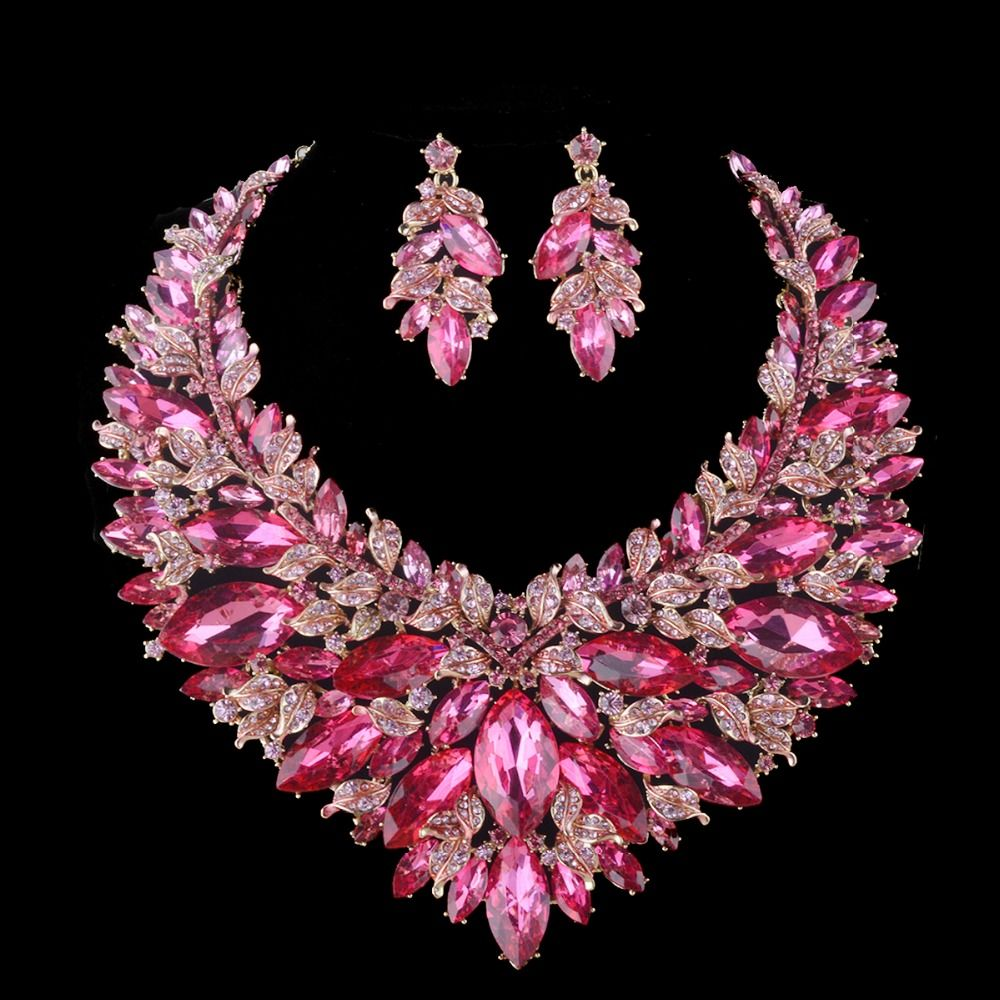 Wedding decorations accessories  Pink Christmas wife Present Jewelry sets Bridal Necklace Earring