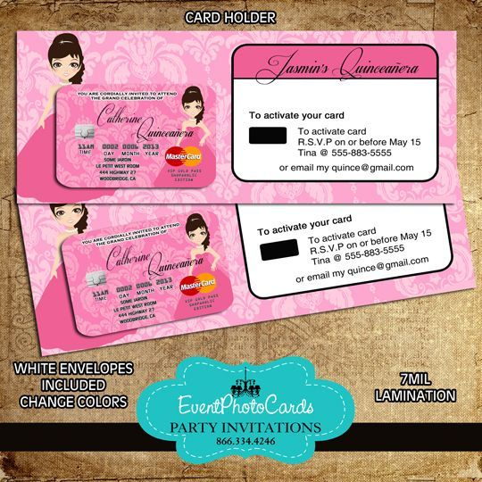 princess pink credit card with holder princess quinceanera