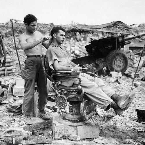 Outdoor Vintage Barbershop -- WWII?