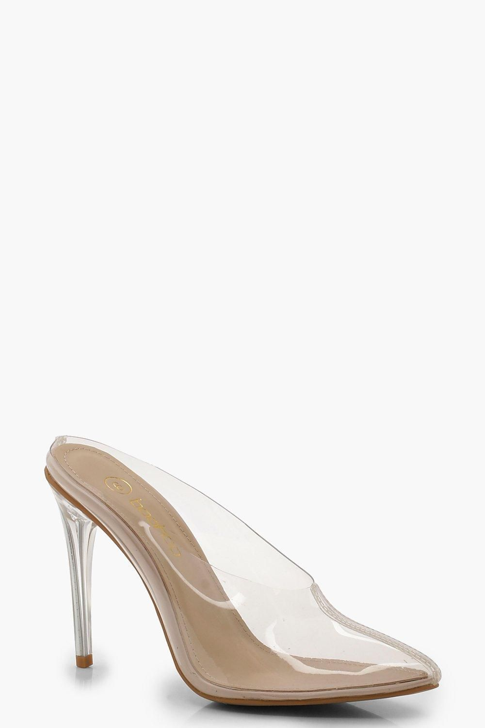 34deec5d265 Clear Pointed Toe Mule Heels