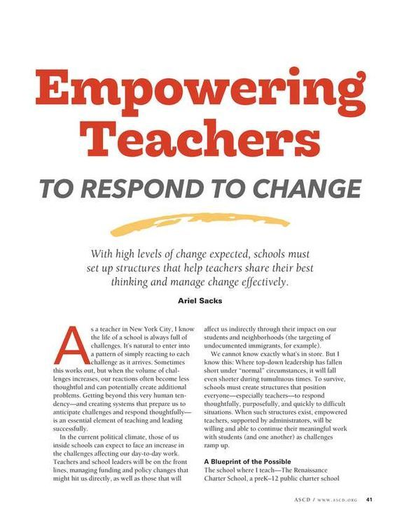 Empowering teachers to respond to change from educational leadership empowering teachers to respond to change from educational leadership summer 2017 malvernweather Choice Image