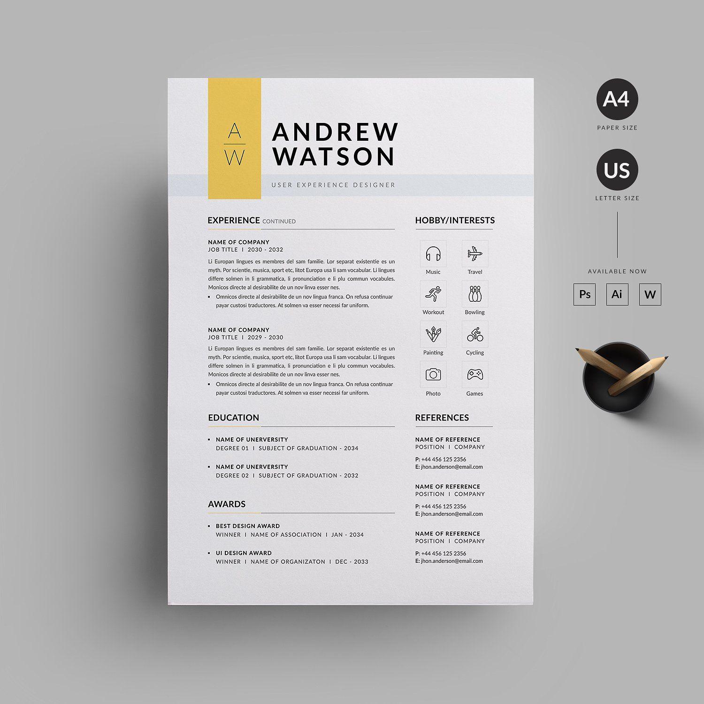 resume  cv by reuix studio on  creativemarket