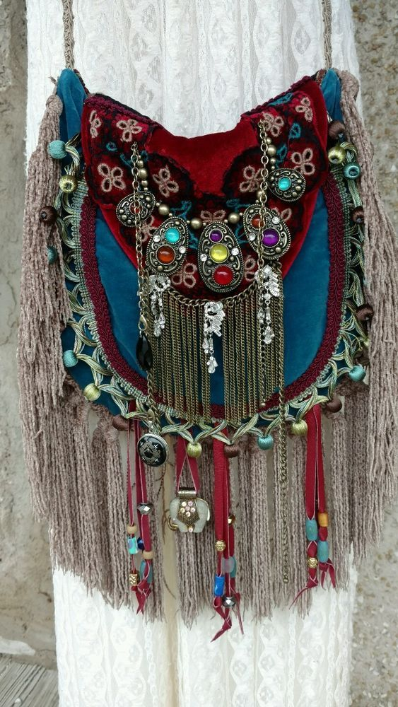 Handmade Velvet Fringe Bag Gypsy Hippie Boho Hobo Ibiza Festival Purse  tmyers… 36e1755868e3a
