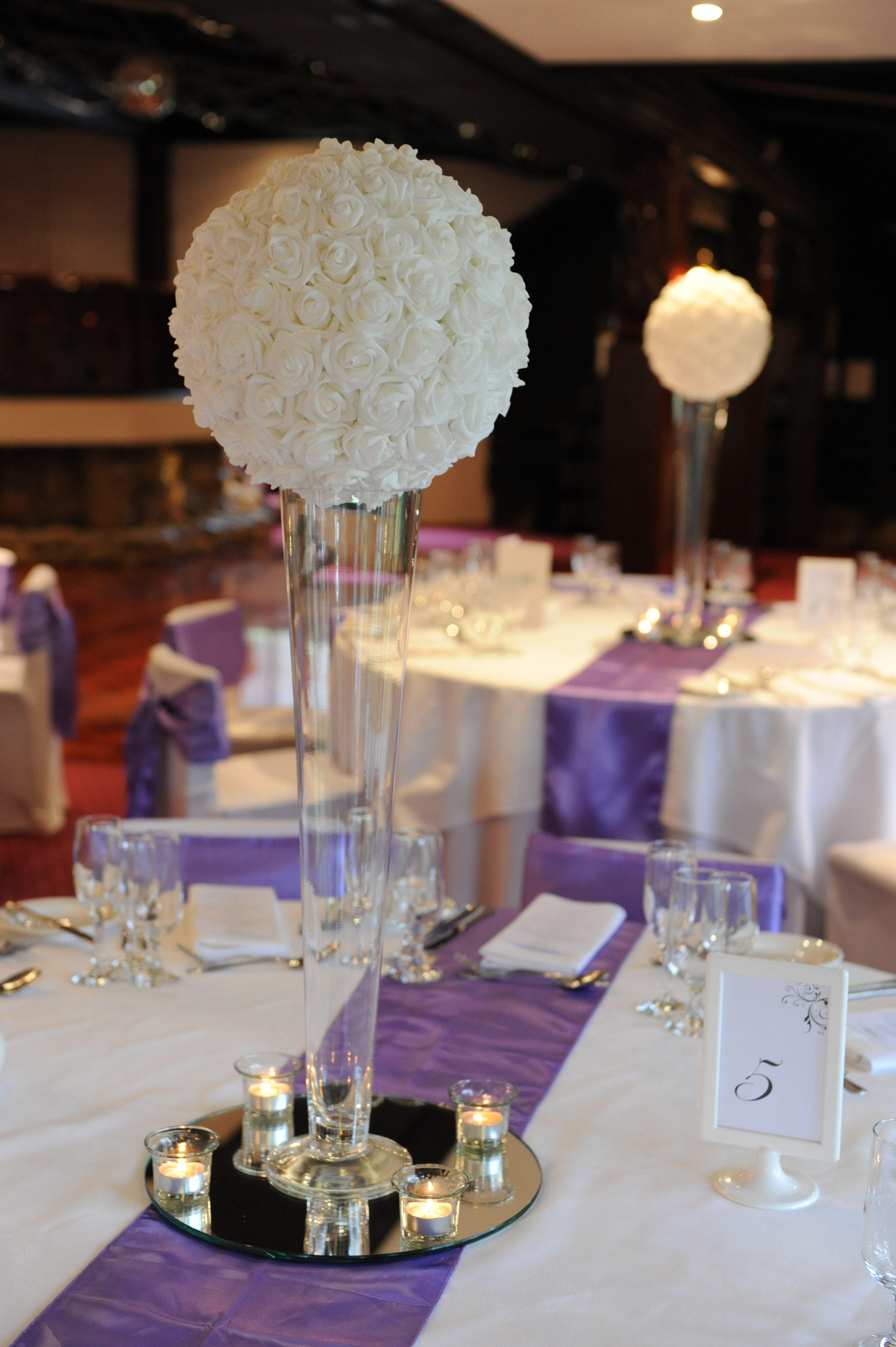 White Rose Ball On Trumpet Vase From Chateau Wyuna Centrepiece Range Flower Ball Centerpiece Glass Vase Wedding Centerpieces Trumpet Vase Centerpiece