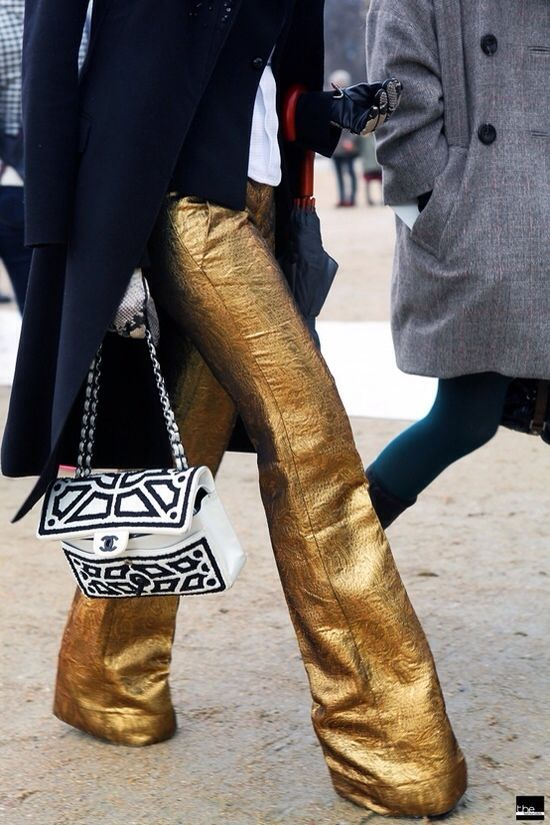gold wide-leg pants | Outfit inspo | Pinterest | The old, Awesome ...