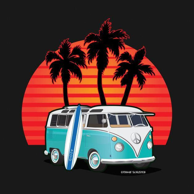 Check out this awesome 'Van+with+surfboard2C+sunset+and