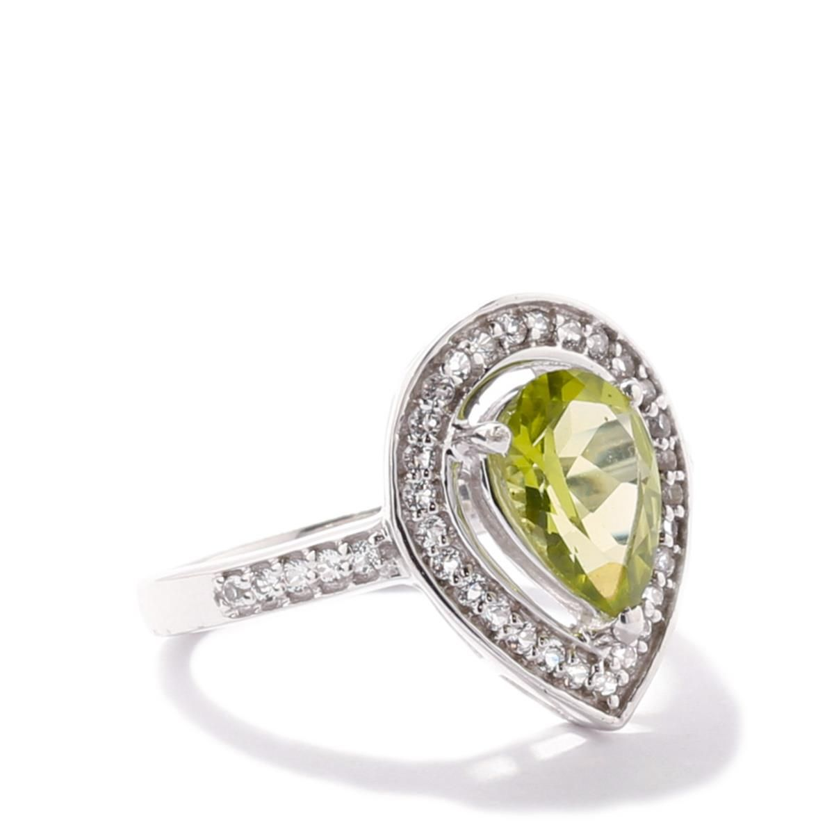 Changbai Peridot Ring with White Topaz in Sterling Silver 2.34cts