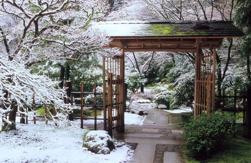 Snow teahouse gate Japanese garden
