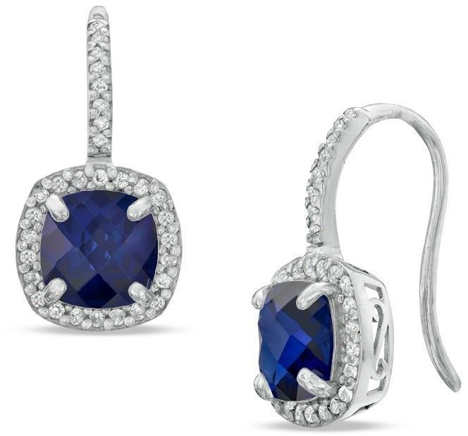 Zales 7.0mm Cushion-Cut Lab-Created Aquamarine and White Sapphire Frame Drop Earrings in Sterling Silver YwXUpT3FN