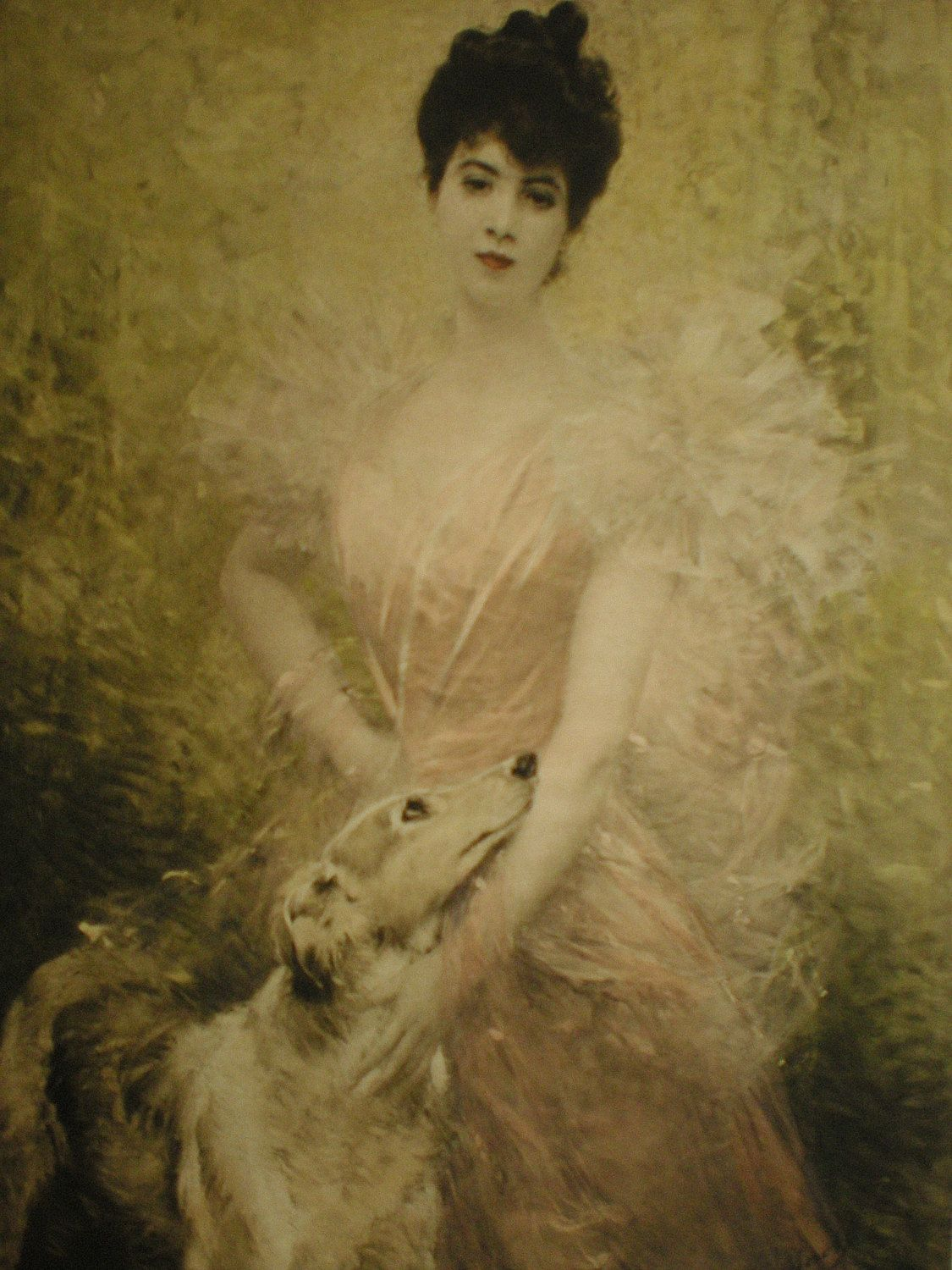 ❤ =^..^= ❤ deerauthor: Antique PRINT Hand-tinted Photogravure by Aime Morot / Mademoiselle Brice with Borzoi Greyhound Whippet Dog / Pink Brown Gold Sepia Wall Art