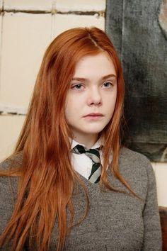 that preppy school girl ginger  elle fanning hair ginger