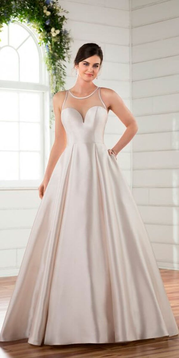 15 Excellent And Elegant Silk Wedding Dresses A Line With Sweetheart Illusion Halter Simple
