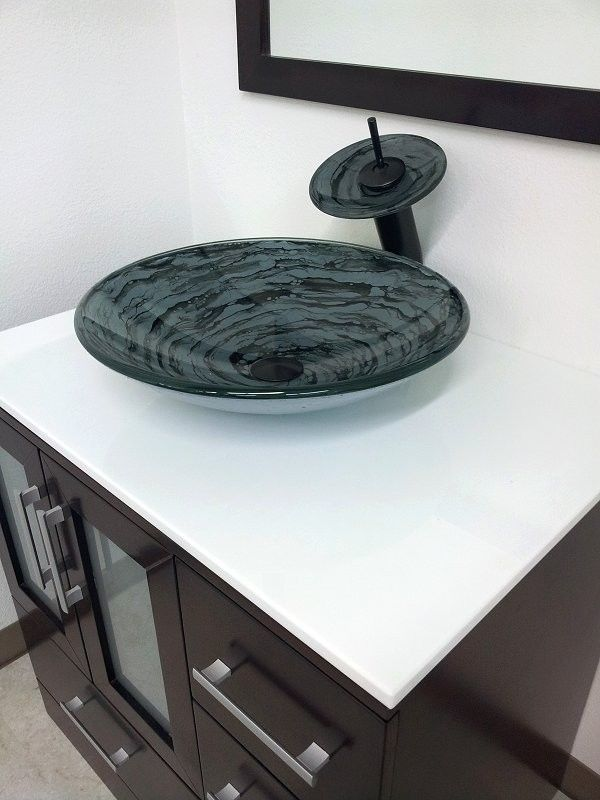 Gray Round Style Bath Tempered Glass Vessel Sink With Oil Rubbed