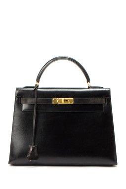 Vintage Hermes Kelly 32 Stamp Circle X Gold Hardware Handbag