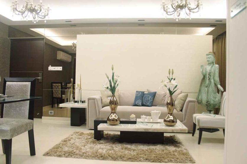 Zen style living room with area rug design by shahen - The living room mumbai maharashtra ...