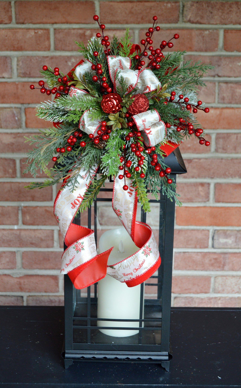 christmas lantern swag wreath bow hoilday gifts lantern centerpiece lanternswag