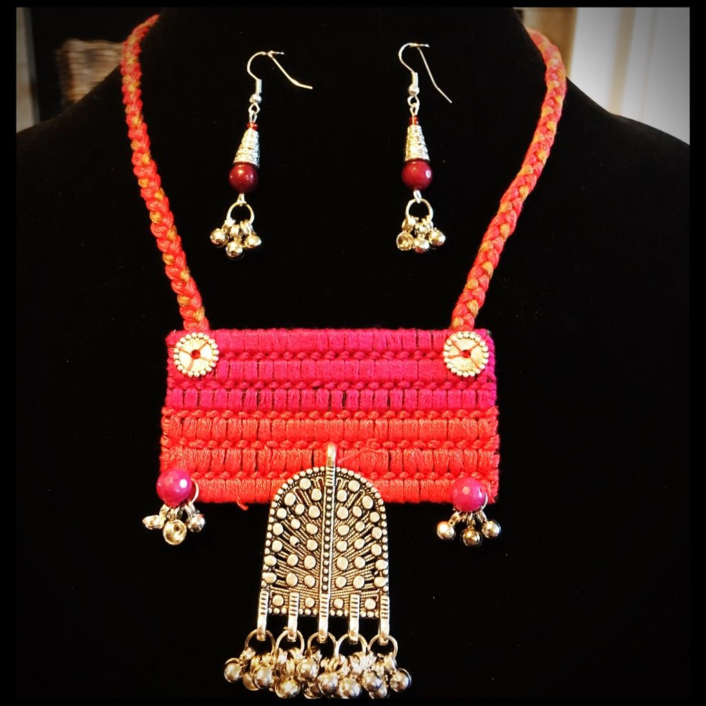 Pink Thread Necklace.