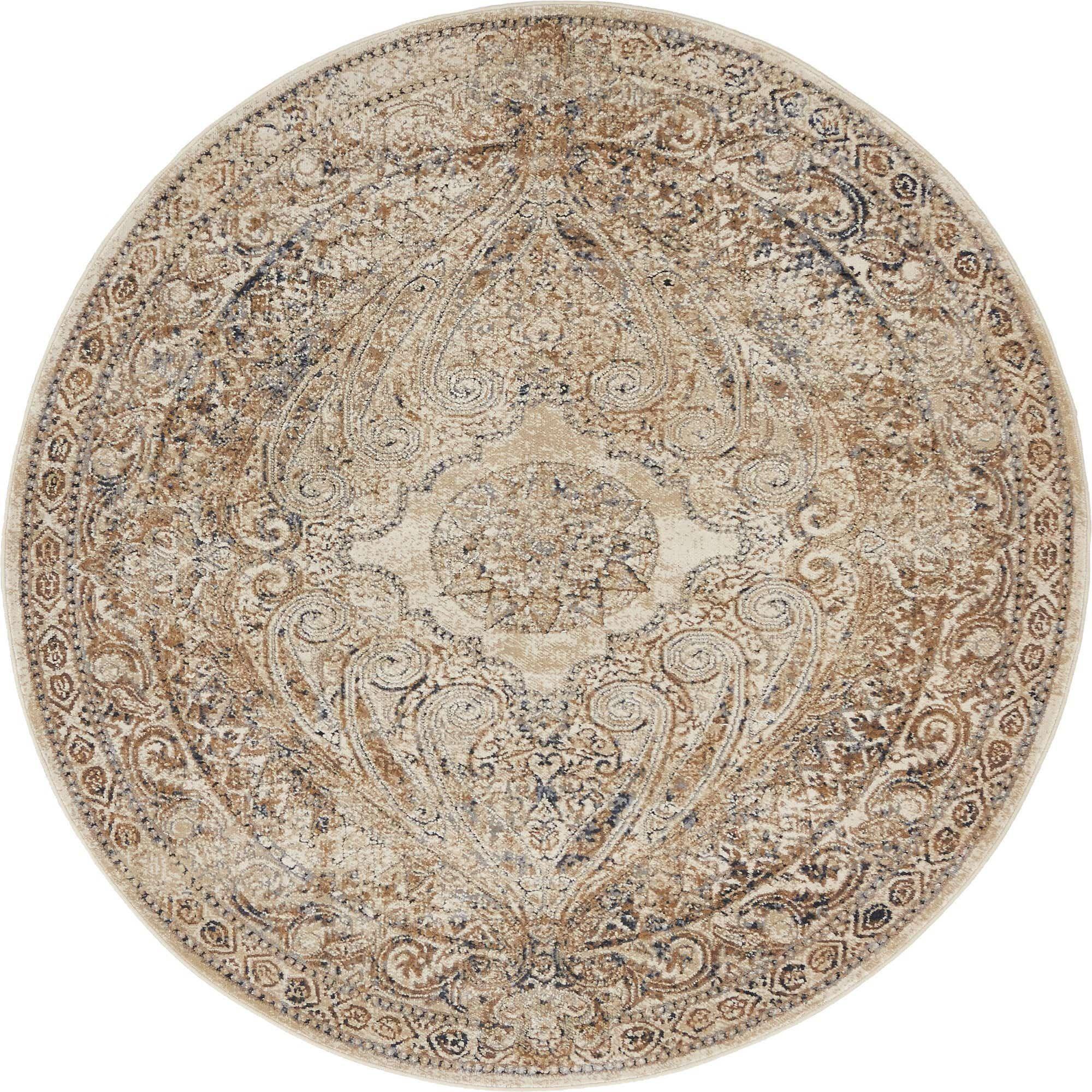 Beige 4 x 4 villa round rug esalerugs in 2020 round