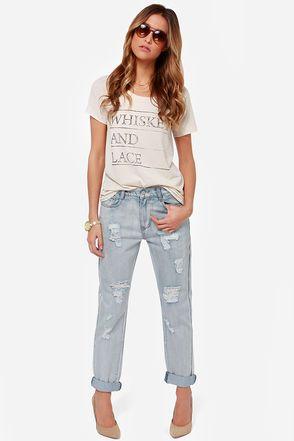 Mink Pink Instinct Blues Distressed Boyfriend Jeans