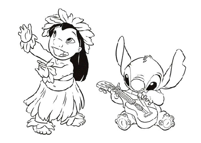 lilo and stitch playing music and dancing coloring pages for kids printable lilo stitch coloring pages for kids