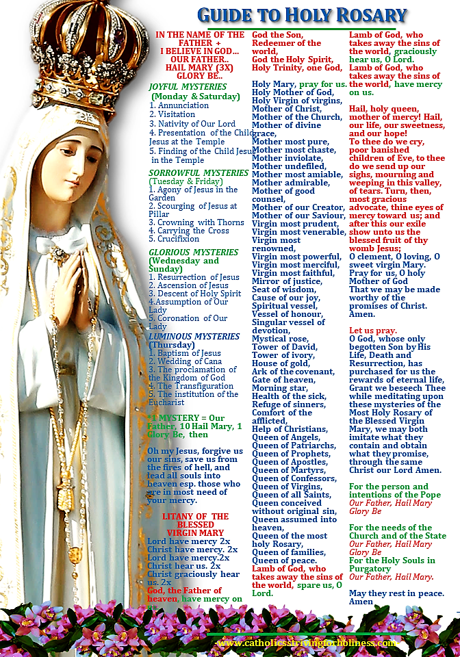 GUIDE TO HOLY ROSARY. Help more people by offering each mystery for an  intention.   Rosary prayers catholic, Holy rosary, Holy rosary prayer