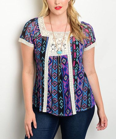 Look what I found on #zulily! Royal Blue Geometric-Stripe Peasant Top - Plus #zulilyfinds