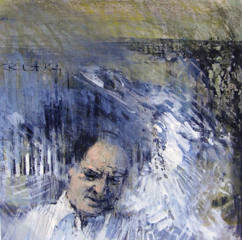 Robert King mixed media portrait of a man signed.  Sold