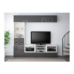 """BESTÅ TV storage combination/glass doors - white/Selsviken high-gloss/gray clear glass, drawer runner, soft-closing, 94 1/2x15 3/4x90 1/2 """" - IKEA"""