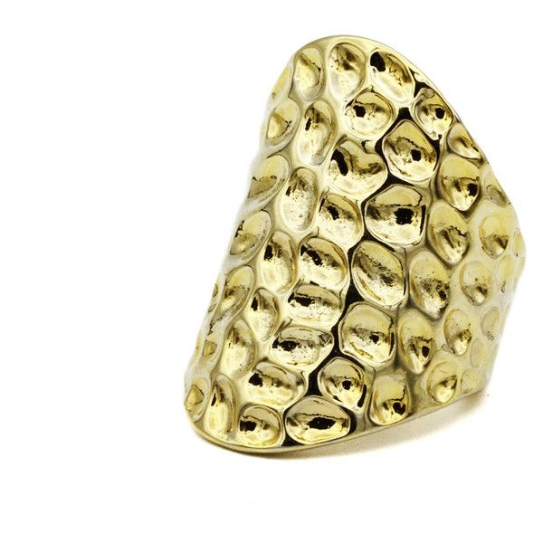 Hammered Gold Ring Modern Contemporary Jewelry Big Chunky Ring