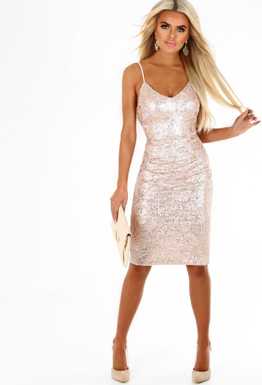 228fe8b208cdc Shine Your Light Rose Gold Sequin Embroidered Midi Dress - 8 ...