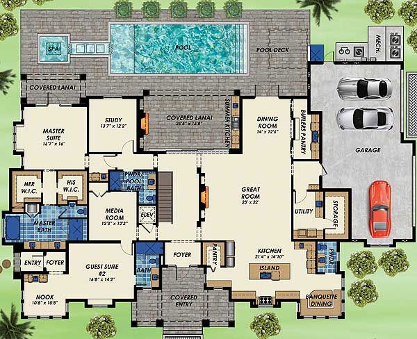 plan 31837dn every bedroom gets a private bathroom for the home house plans new house. Black Bedroom Furniture Sets. Home Design Ideas