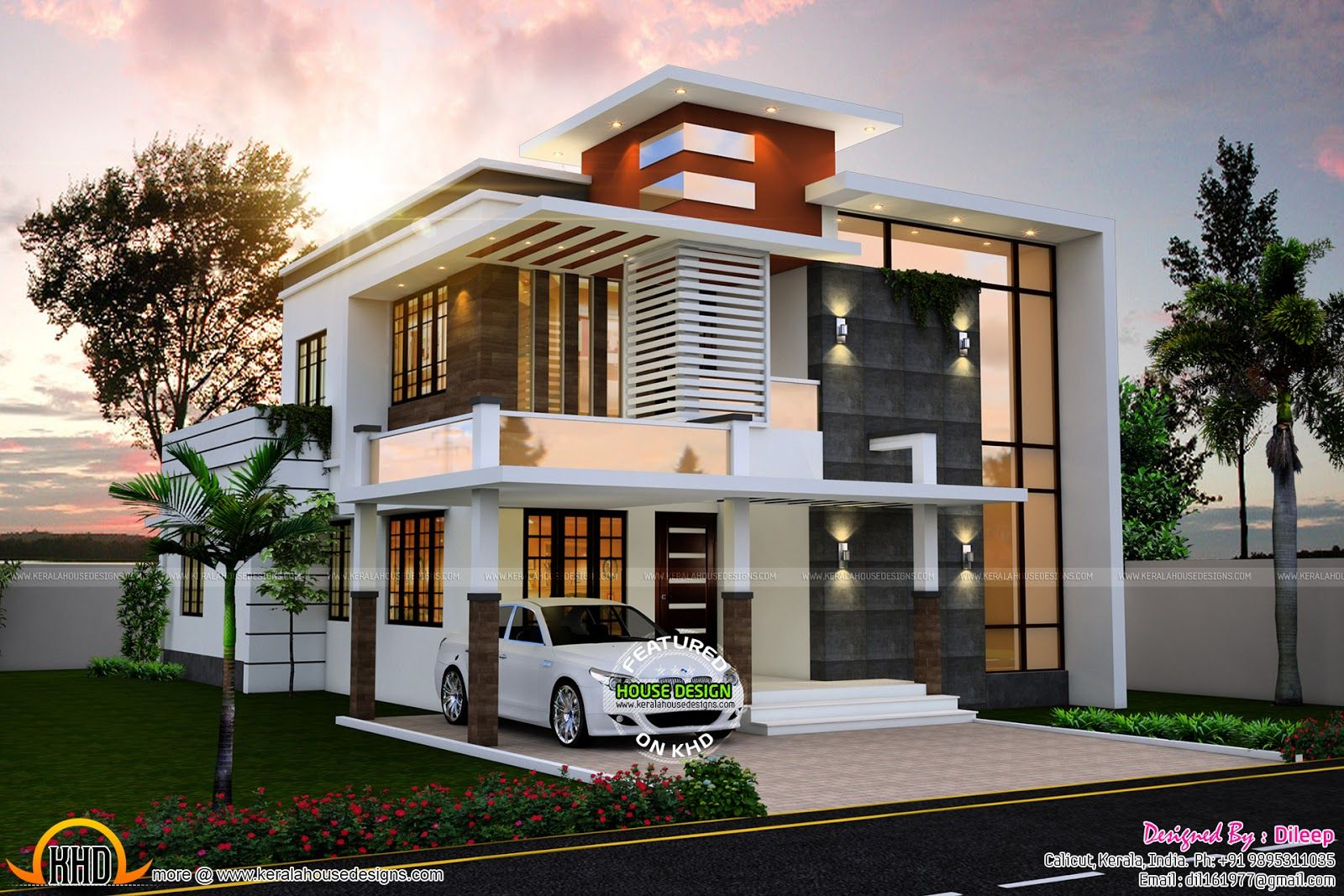 Sq ft nice contemporary house kerala home design floor sq for Kerala home design flat roof elevation