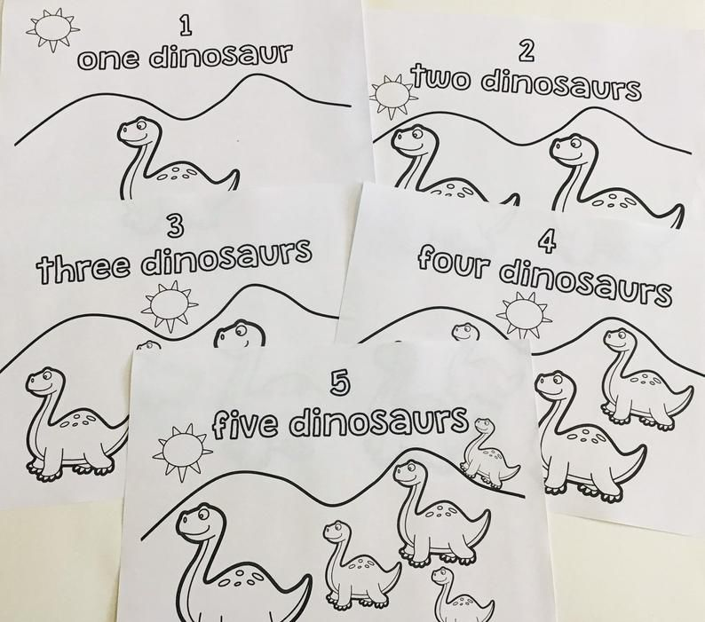 Counting dinosaurs coloring pages etsy httpswwwetsy