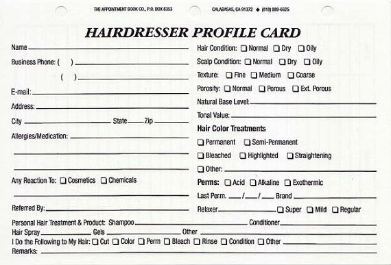 Hairdresser Client Profile Cards Pack Of 100 By
